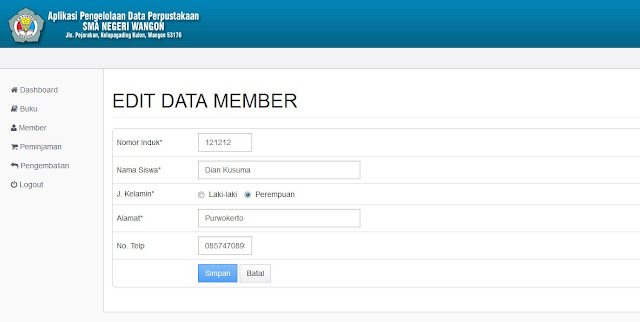 Halaman Edit Data Member (Backend)