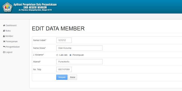 Halaman Edit Data Member (Backend)