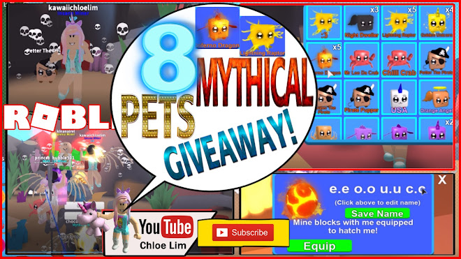 Pet Simulator How To Equip More Pets With 0 Robux Chloe Tuber Roblox Mining Simulator Gameplay Hatching 10 Mythical Eggs 8 Mythical Pets Giveaway 4 Inferno Dragon 4 Lightning Raptor