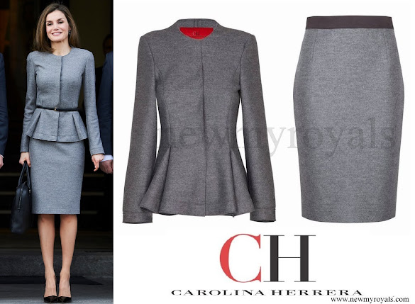 Queen Letizia wore Carolina Herrera cashmere skirt suit