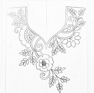 Hand emroidery Neck design drawings and sketch on tracing paper