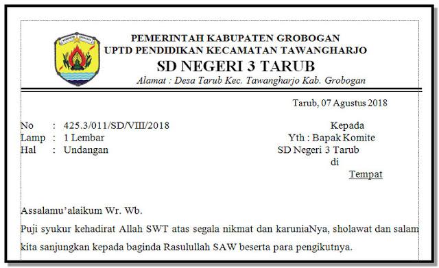Format Undangan Komite Sekolah Kegiatan PKKS