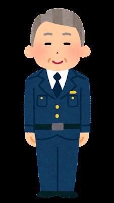 警察官のイラスト(男性・制帽なし・老人)
