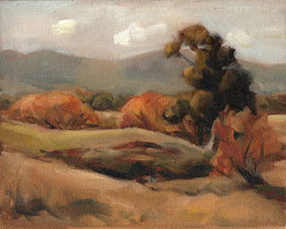 Oil painting of trees near a creek with distant hills.