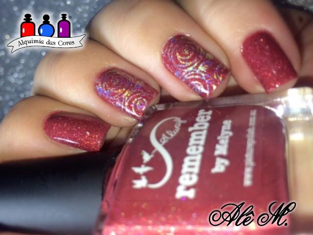 Vermelho, Picture Polish, Remember, Holo, Sugar Bubbles, SB057, EDK, Andromeda, Coleção Nebulas, Alê M.