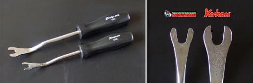 Koken & straight のクリップハンドルのクリップをスナップオンの旧プラスチックグリップに交換しました。