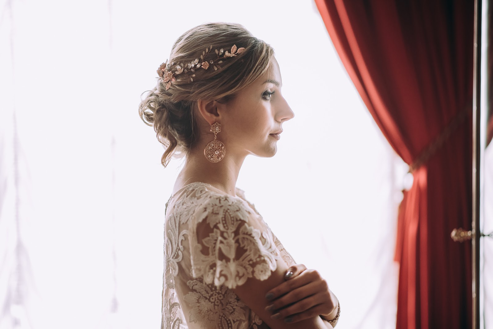 Orientalne kolczyki ślubne Rose Gold