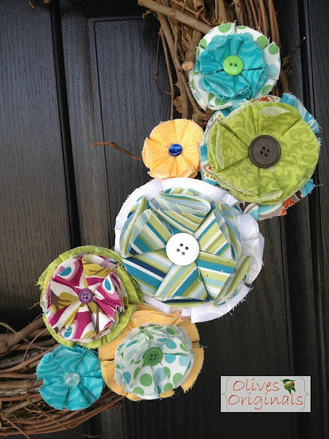 Olives Originals Tutorial Spring Wreath With Fabric Flowers