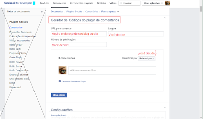"Tutorial :   ...comentar pelo    ""Plugin de comentários"",  (""comments""),   do facebook , no blog, do blogger..."