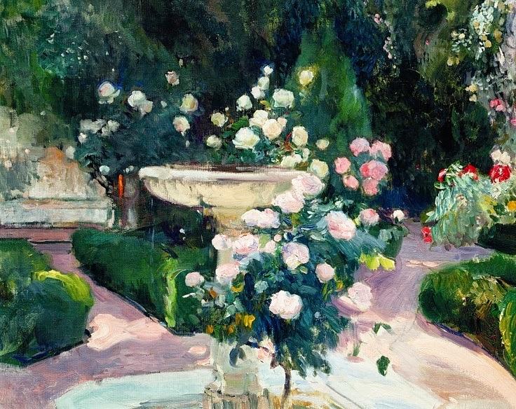 Fuente y rosal del jardín de la Casa Sorolla | Joaquín Sorolla