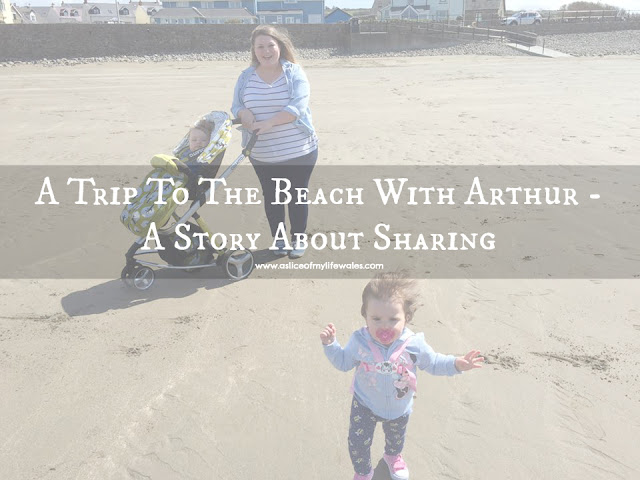 A Trip To The Beach With Arthur - A Story About Sharing - blog post about a trip to the beach with two young children one year old