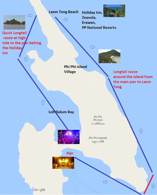 Longtail boat route map from Koh Phi Phi Nightlife to Laem Tong