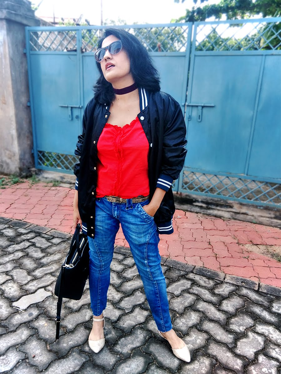 blue frayed hem denim,newlook bomber jacket,red ruffled top,Indian fashion blogger