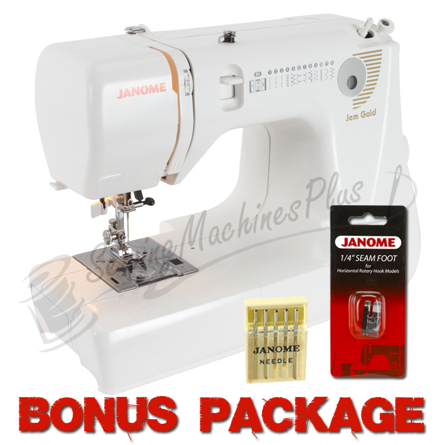 Janome Jem Gold 660 12-Stitch Compact Lightweight Sewing Quilting Machine - FREE BONUS