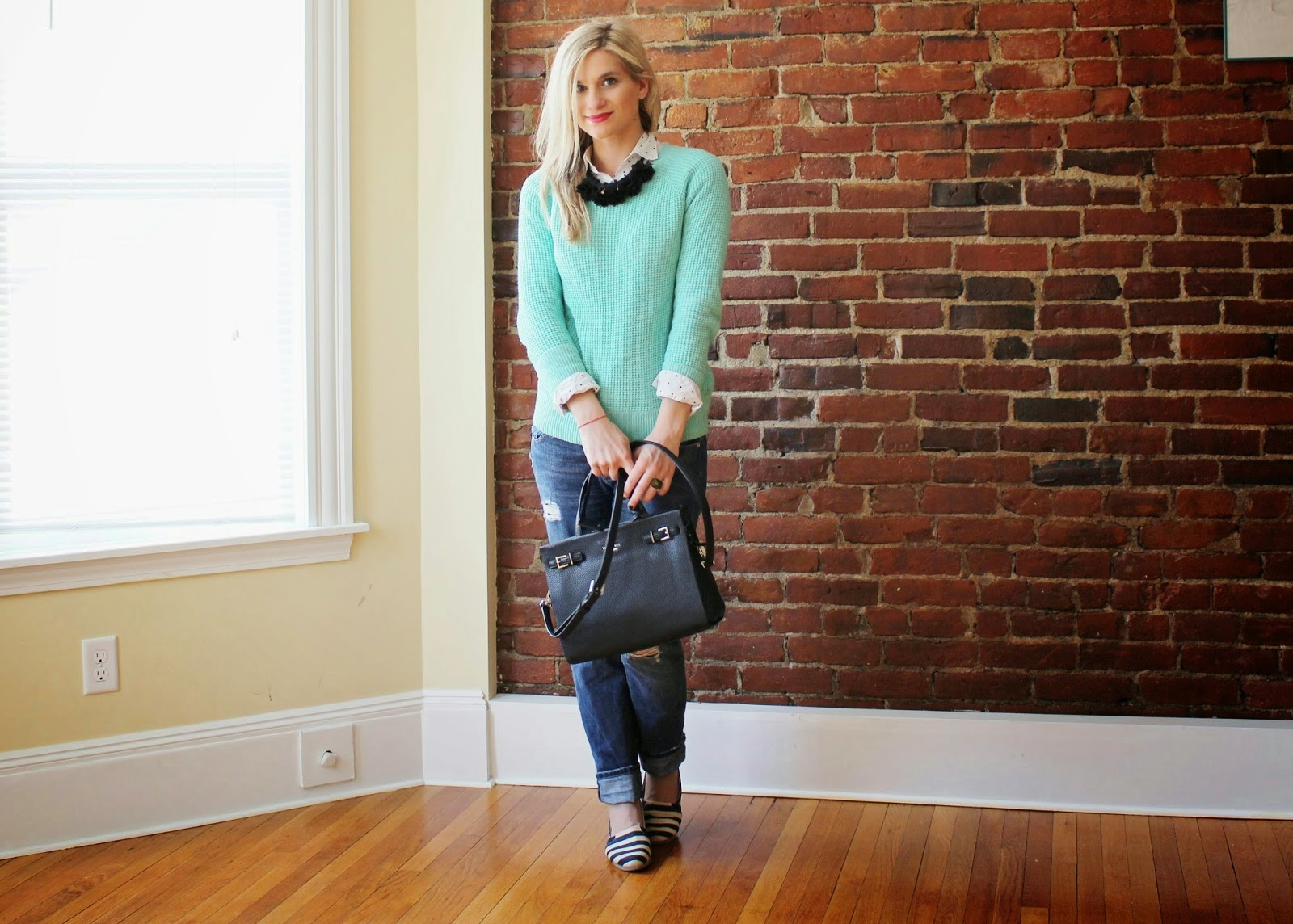 bijuleni - boyfriend jeans and mint sweater