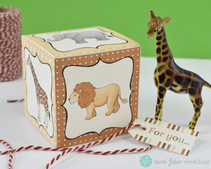 Safari Animal printable cupcake box on hfcSupplies etsy by hazelfishercreations