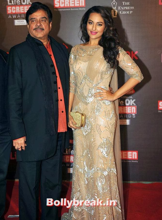 Shatrughan and Sonakshi Sinha, Life Ok Screen Awards 2014 Red Carpet Photos