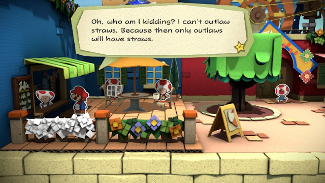 Paper Mario Color Splash can't outlaw straws only outlaws will have straws plastic ban