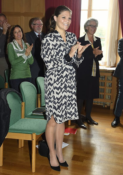 The Crown Princess wore DAY BIRGER et MIKKELSEN Chevron silk blend dress.