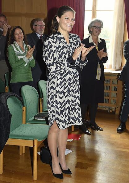 The Crown Princess wore DAY BIRGER et MIKKELSEN Chevron silk blend dress.