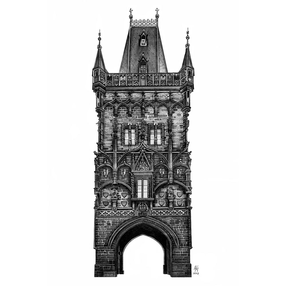 07-Powder-Tower-Prague-Czech-Republic-Elizabeth-Mishanina-Architecture-Immaculate-Drawing-Technique-www-designstack-co