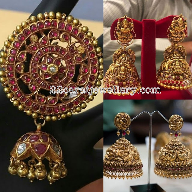 Antique and Kundan jhumkas with Big Tops