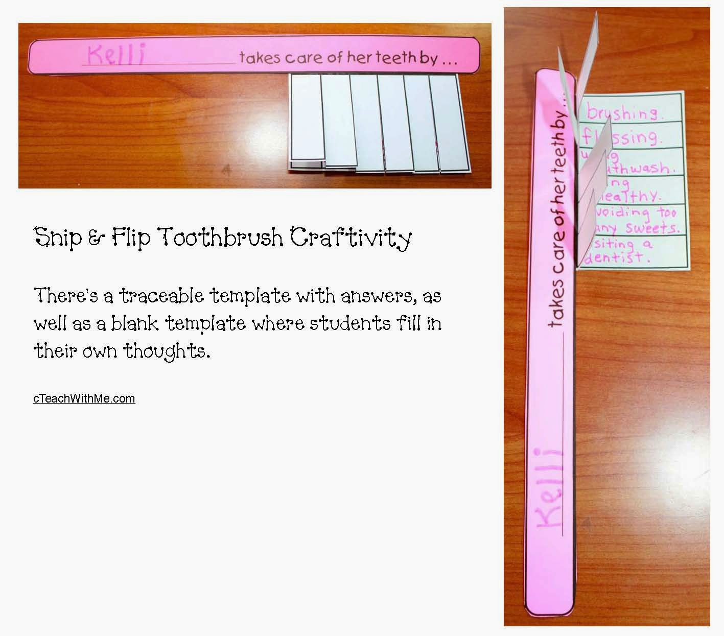 Classroom Freebies Toothbrush Dental Hygiene Writing Prompt Craft