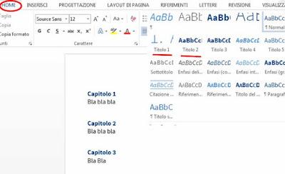 Come creare un indice su word