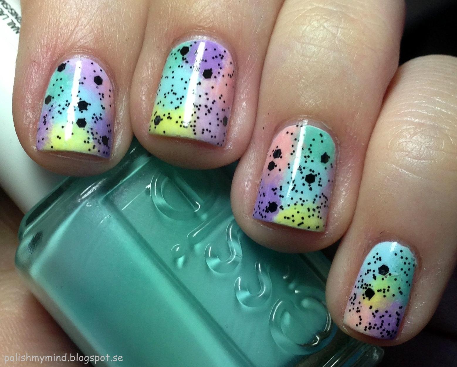 Polish My Mind Watercolor Nails Black Glitter