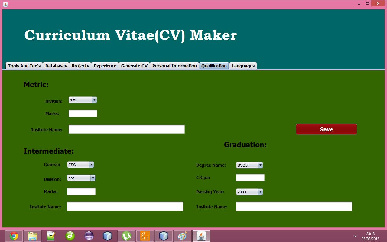 Cv Generator Project In Java Achaz Cleon Blog