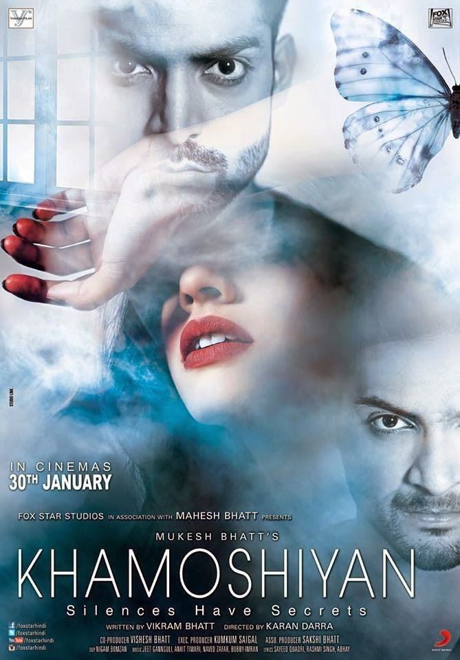 Mysterious Sapna Pabbi, Gurmeet Choudhary and Ali Fazal in Khamoshiyan movie poster