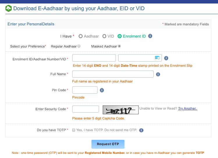 aadhar card download using aadhar number
