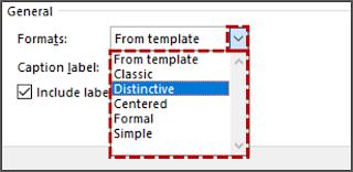 Untuk menggunakan format tabel selain dari default (Table of figures)