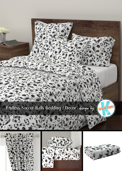 Endless soccer balls pattern bedding from katzdzynes