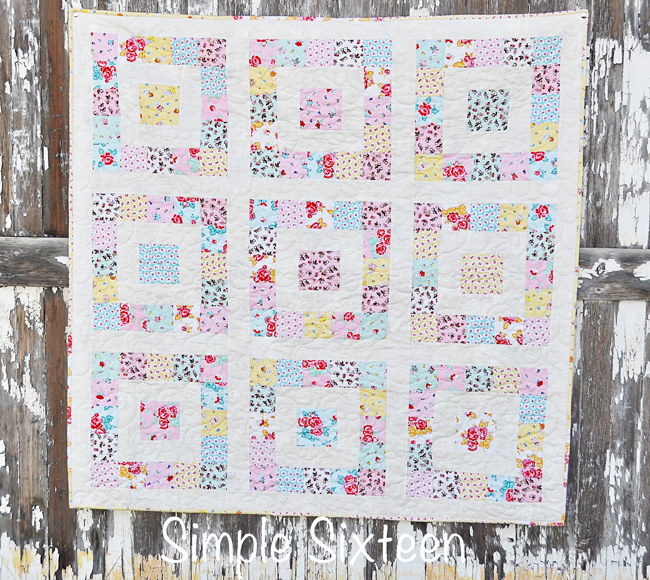 """Simple Sixteen - Milk Sugar & Flower"" Free Easy to Sew Quilt Pattern designed by Lindsay from Fort Worth Fabric Studio"