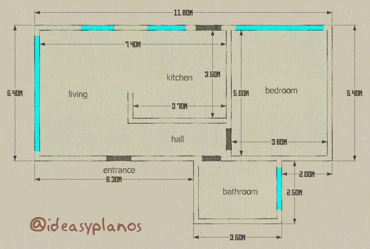 Apartamento de una habitaci n en 72 m2 for Diseno de apartamento de una habitacion