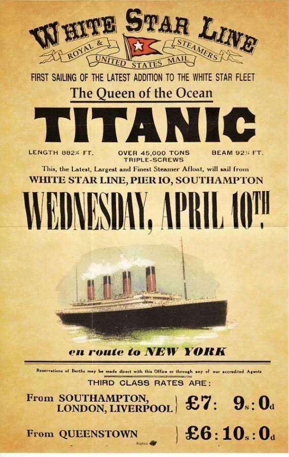 Cartaz de lançamento do Titanic em 1912 anunciando preços para a terceira classe