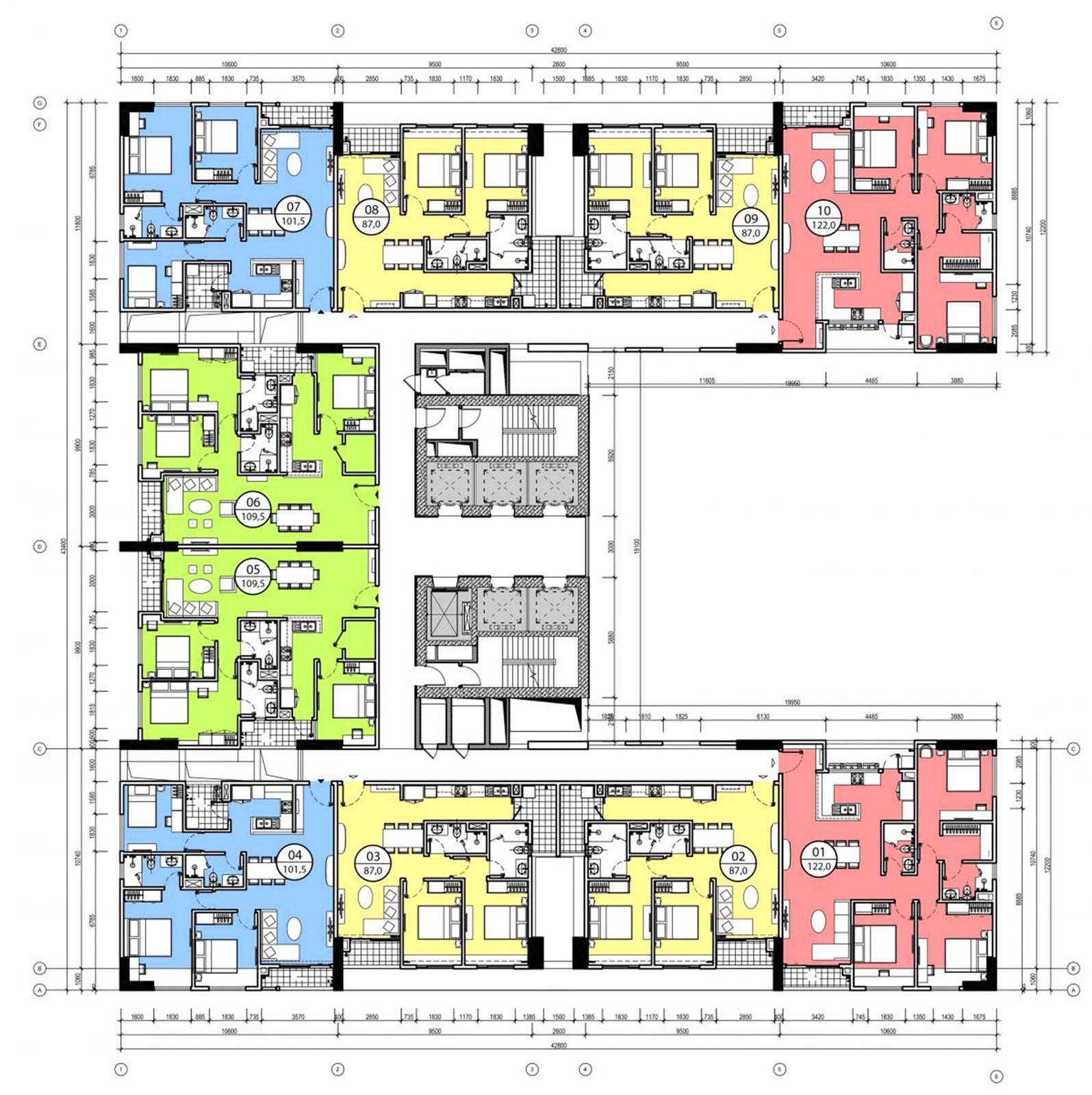 Mặt bằng căn hộ điển hình tại chung cư Phú Mỹ Complex - N01T4 Ngoại Giao Đoàn