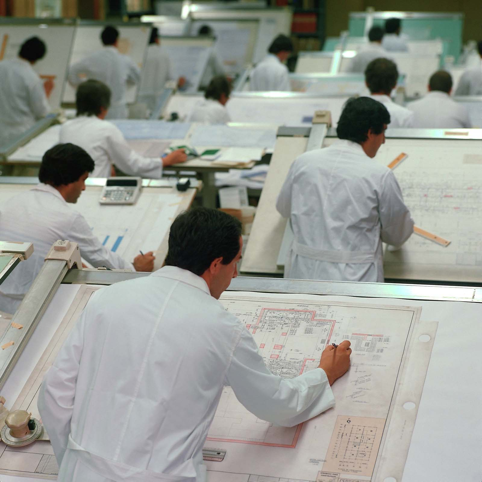 Tamron's drafting department in the late 1970s.