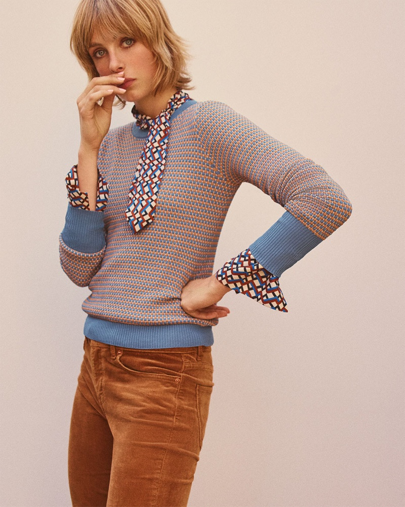 Zara Textured Weave Sweater, Geometric Printed Blouse and Flared Corduroy Pants