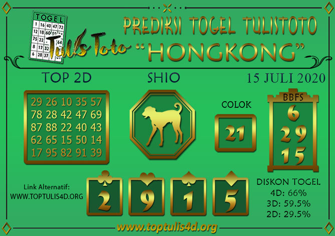 Prediksi Togel HONGKONG TULISTOTO 15 JULI 2020
