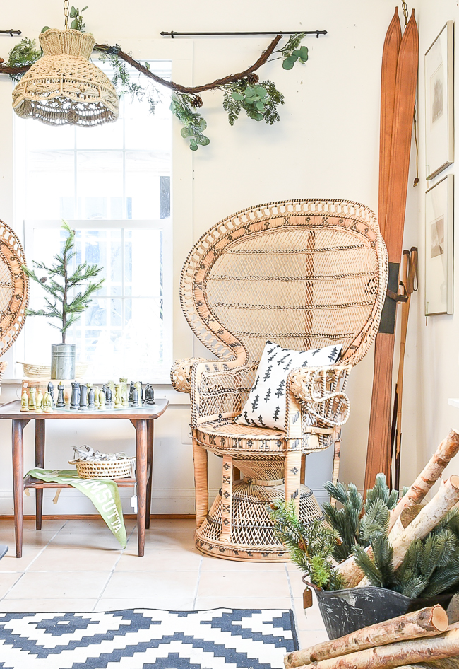 Vintage peacock chairs styled for Christmas