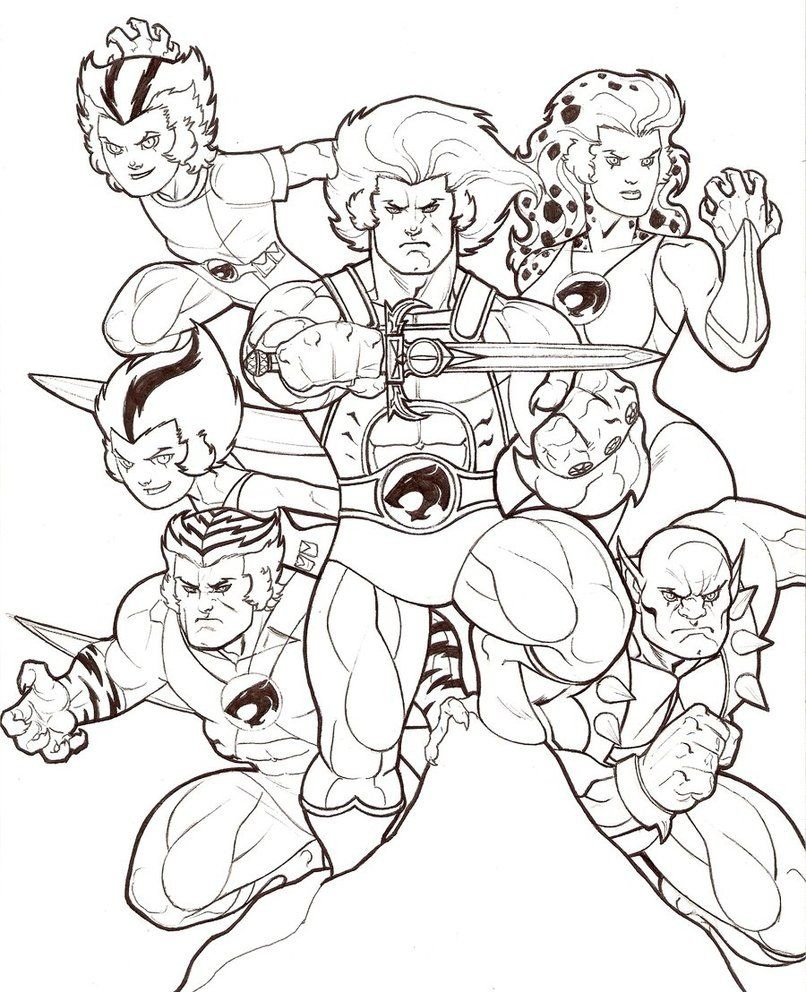 Click to see printable version of 6 Member ThunderCats Coloring page