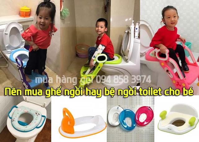 Nên mua bệ ngồi toilet cho bé hay ghế ngồi toilet có thang cho bé?