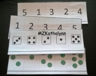 Cartes boites à compter nombres jusqu'à 5 constellations dés