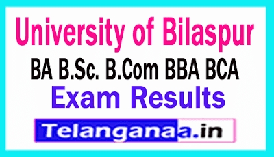 University of Bilaspur Result 2019 BA B.Sc. B.Com BBA BCA