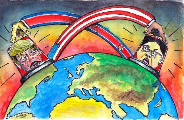"""Το κουμπί Γελοιογραφία του IaTriDis  για την Κρητική εφημερίδα 'Άποψη του Νότου"""" με θέμα τις δηλώσεις του Αμερικάνου Προέδρου Ντόναλντ Τραμπ πως το δικό του κουμπί για τα πυρηνικά όπλα είναι πιο μεγάλο απο αυτό του  Κιμ Γιονγκ Ουν."""
