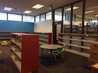 Empty shelves in picture book area