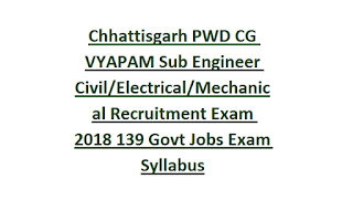 Chhattisgarh PWD CG VYAPAM Sub Engineer (Upa Abhiyanta-Civil Electrical Mechanical) Recruitment Exam 2018 139 Govt Jobs Exam Syllabus