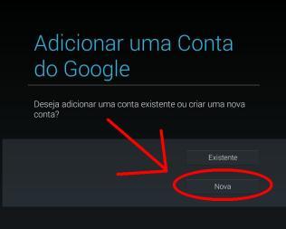 Fazer nova conta do Google no tablet